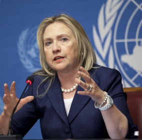 HRC in front of UN backdrop