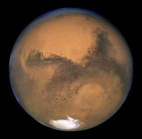 Photograph of Mars taken by the Hubble Space Telescope during opposition in 2003